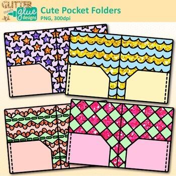 Cute Pocket Folder Clip Art {Back to School Supplies for Classroom Decor}