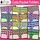 Cute Pocket Folder Clip Art: School Supply Graphics {Glitter Meets Glue}