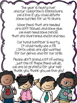 cute poem end of year donation letter to parents by natalie kay