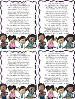 Cute Poem - End of Year Donation Letter to Parents