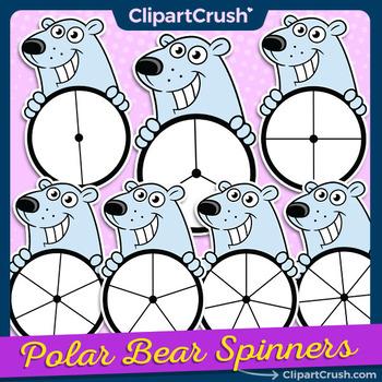 Cute Polar Bear Clipart Spinners -  Polar Bears Game Clip Art Spinner Set!