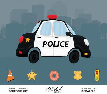 Cute Police Car Digital Clip Art - Digital File - Cartoon Police Car Clipart