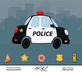 Cute Police Car Digital Clip Art - Digital File - Cartoon Police Car Clipart