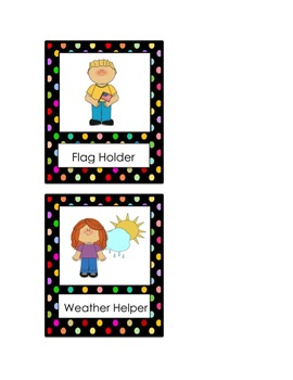Cute Polka Dot Classroom Job Poster Chart