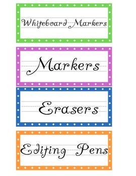 Cute Polka-Dot Classroom Labels