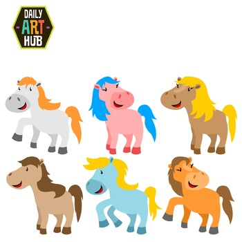 Cute Ponies Clip Art - Great for Art Class Projects!