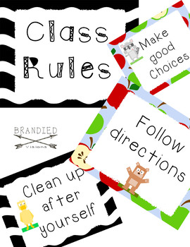 Cute Positive Classroom Rules in Black and white and apple themes