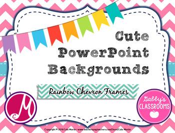 cute powerpoint backgrounds rainbow chevron frames editable by