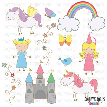 Cute Princess, Cute Unicorn, Cute Pegasus, Fantasy Clipart, Flower Graphics