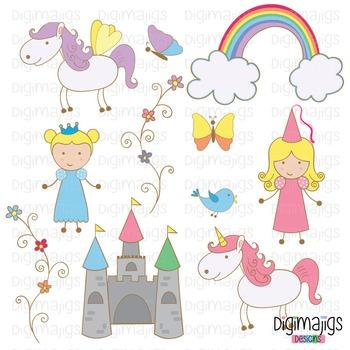 Cute Princess, Cute Unicorn, Cute Pegasus, Fantasy Clipart