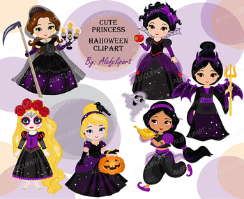 Cute Princess Halloween clipart instant download.Personal and Commercial Use