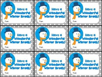 Cute Printable  Gift Tag for Winter Break