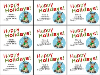 Cute Printable Happy Holidays Gift Tag