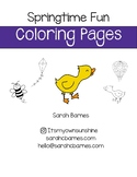 Cute Printable Springtime Coloring Page for May, duckling, kite, hot air balloon