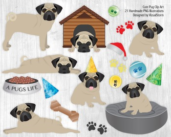 Cute Pug Clip Art, Hand Drawn Pugs, Dog Toys and Pet Accessory Illustrations