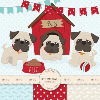 Cute Pug Clipart, Vectors & Digital Papers - Puppy Clip Art, Dog Clipart