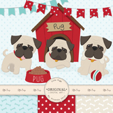 Cute Pug Clipart, Vectors & Digital Papers - Puppy Clip Ar