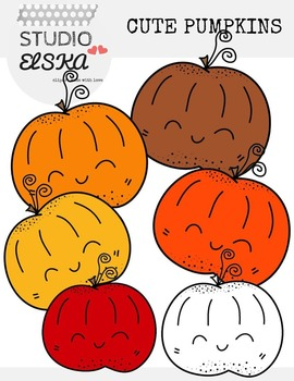 Cute Pumpkins Clipart (Fall/Autumn colors)