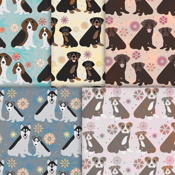 Dog Digital Paper, 10 Printable Patterns of Puppies, Dogs and Flowers