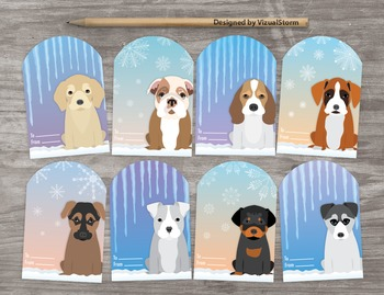 Cute Puppy Gift Tags - 8 Handmade Party Favors - Puppies, Icicles, Snowflakes
