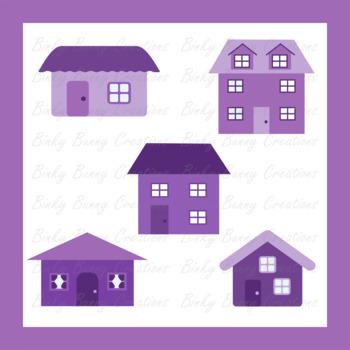 Purple Houses Buildings Clip Art Clipart