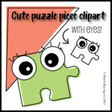 Cute Puzzle Piece Clipart with eyes!