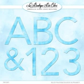 Cute Blue Watercolor Alphabet Clipart