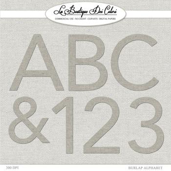 Cute Burlap Fabric Alphabet Clipart
