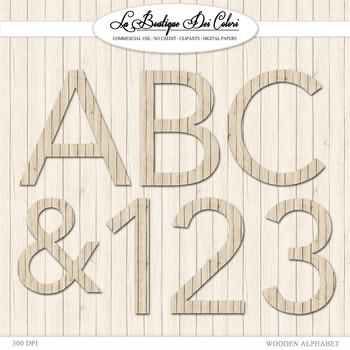 Cute Wood Alphabet Clipart