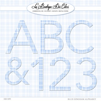 Blue Gingham Alphabet Clipart