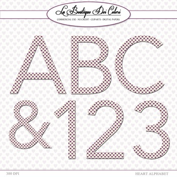 Cute Love Hearts Alphabet Clipart