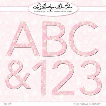 Cute Floral pink alphabet clipart