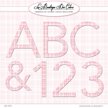 Cute Pink gingham Alphabet cliparts