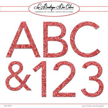 Cute Alphabet, Red Glitter cliparts