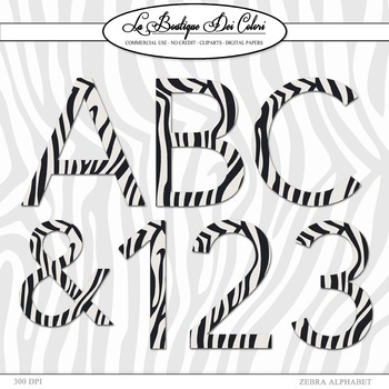 Cute Alphabet, Zebra stripes clipart