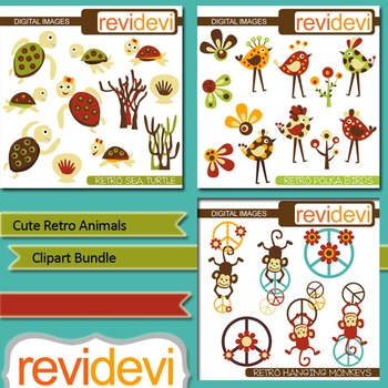 Cute Retro Animals Clip art Bundle (3 packs) bird, sea turtle, monkey