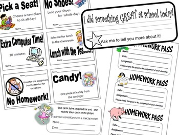 Cute Reward Coupons, Desk Fairy, Good Note Home, and HW Passes