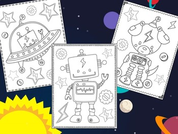 Cute Robots - The Crayon Crowd Coloring Pages, Science
