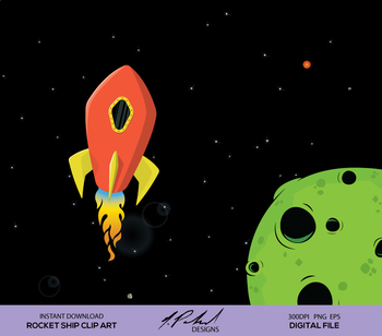 Cute Rocket Ship Digital Clip Art - Digital File - Space Rocket Clipart