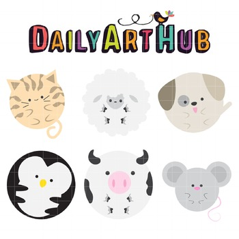 Cute Round Animals Clip Art - Great for Art Class Projects!