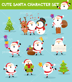 Cute Santa Character Set