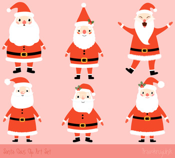 Cute Santa clip art set, Santa Claus clipart, Kawaii Chris