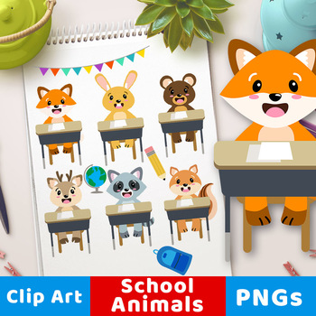Cute School Animals Clipart, Woodland Animals Back to School Clipart