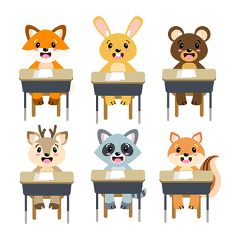 Cute School Animals Clipart Woodland Animals Back To School Clipart