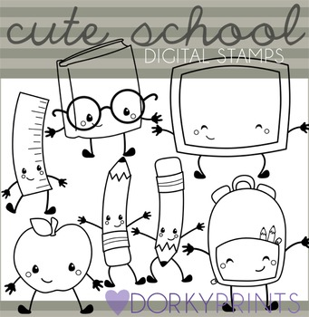 Cute School Blackline Clipart