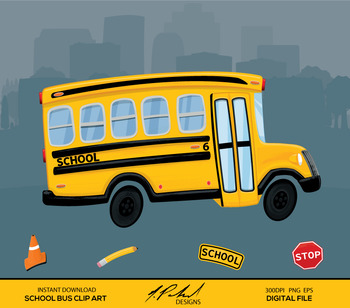 Cute School Bus Digital Clip Art - Digital File - Cartoon Style School Clipart