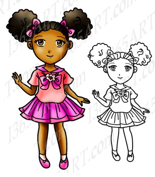 Cute School Girl With Afro Puffs Chibi Clipart, Digital Stamp and Coloring Page