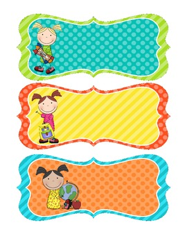 cute school kids name tags by the project queen tpt
