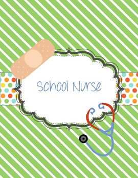 Cute School Nurse binder with stripes and polka dots