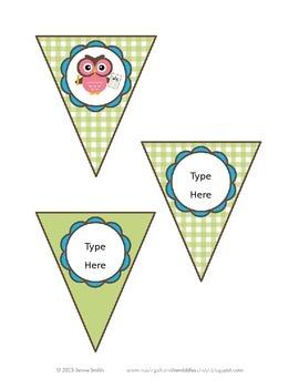 Cute School Owls Editable Classroom Decor Kit
